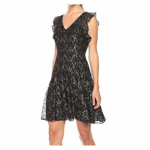 Tommy Hilfiger Womens Shimmer V-Neck Lace A-Line Dress