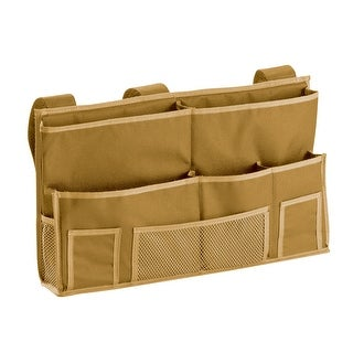 Heavyweight Polyester 10 Pocket Bedside Caddy (Tan)