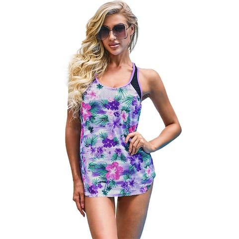 Cali Chic Women's Swimsuit Celebrity Purple Floral Printed Racerback Tankini Swim Top