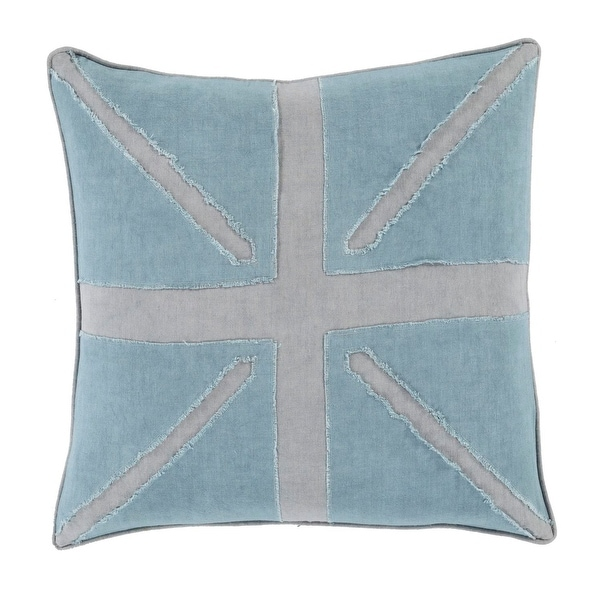 "18"" Summer Sky Blue and Cloud Gray Decorative Throw Pillow"