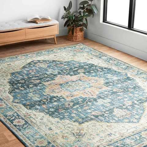 Alexander Home Leanne Printed Shabby Chic Medallion Vintage Area Rug