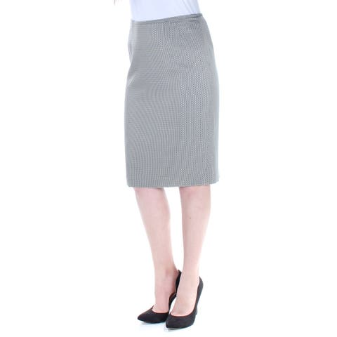 LE SUIT Womens Gray Slitted Geometric Knee Length Pencil Wear To Work Skirt Size: 4
