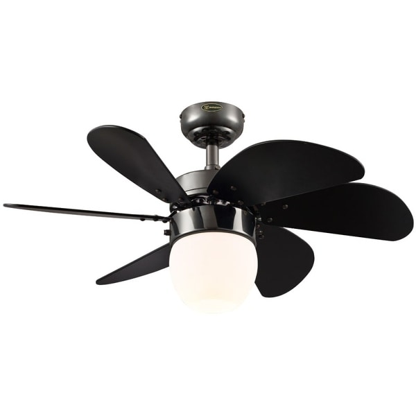 """Westinghouse 7226100 Turbo Swirl Cal 30"""" 6 Blade Hanging Indoor Ceiling Fan with Reversible Motor, Blades, Light Kit, and Down"""