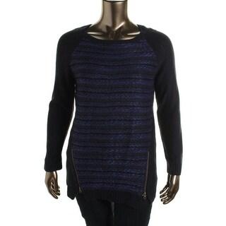 Hooked Up Womens Juniors Pullover Sweater Marled Raglan Sleeves