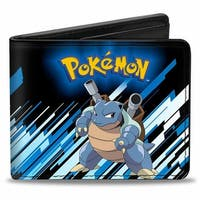 Pokmon Blastoise (Squirtle) Pose Black Blue Stripe Bi Fold Wallet - One Size Fits most