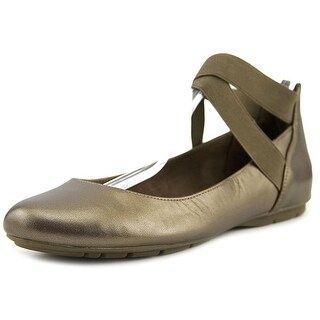 Anne Klein It Can Be Women Round Toe Leather Bronze Ballet Flats