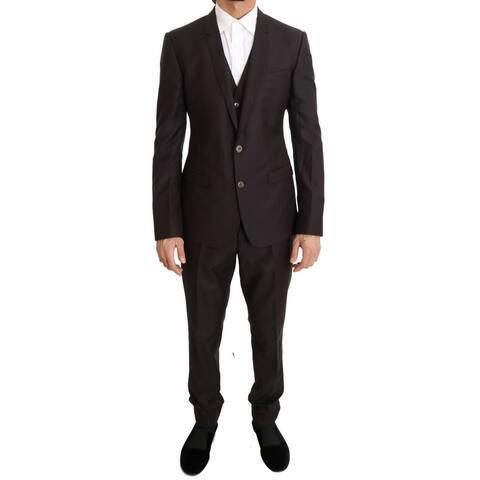Dolce & Gabbana Purple Wool Silk Slim Fit Two Button Men's Suit - it48-m