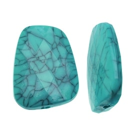 Acrylic Beads, 16x22mm Faceted Trapezoid, 4 Pieces, Turquoise and Black