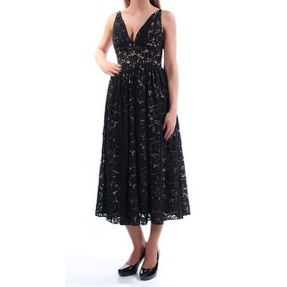 FAME AND PARTNERS $245 Womens New 1651 Black Lace Fit + Flare Dress 2 B+B
