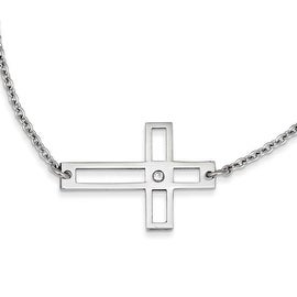 Chisel Stainless Steel Cross Cut Out Sideways Cross Necklace - 21.25 in