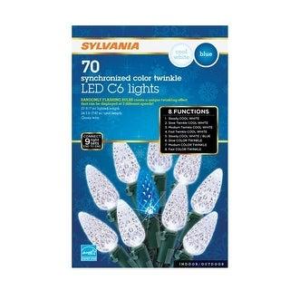 Sylvania V45173-71 Synchronized LED C6 Twinkle Light Set, Blue/White, 70 lights - Blue/White