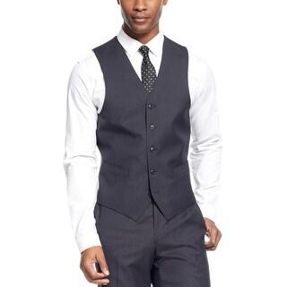 Sean John Vest Black Textured 46 Long 46L Regular Fit Suit Separates