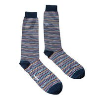 Missoni GM00CMU4957 0002 Navy/Mustard Striped Knee Length Socks - M