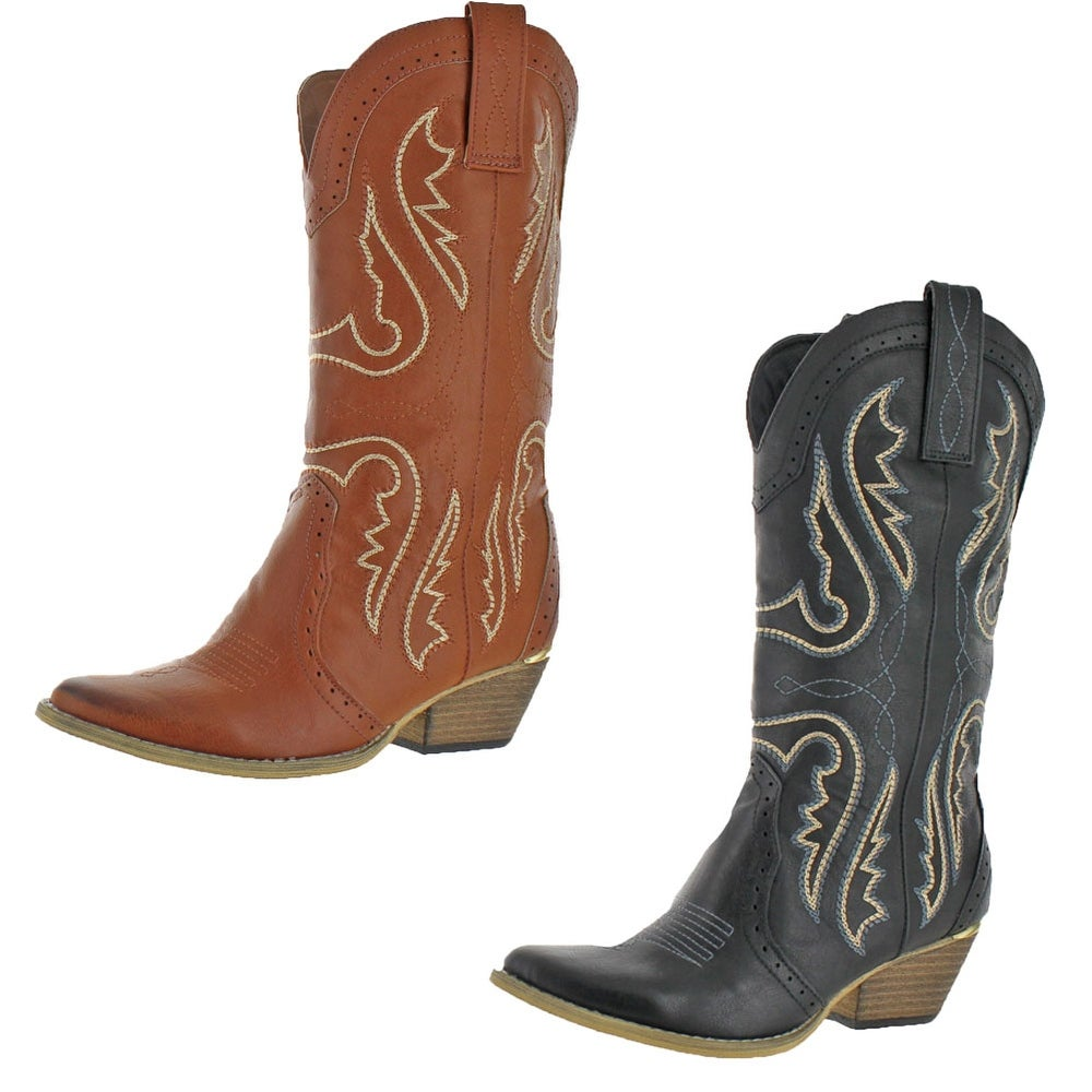 Details about  /Women/'s Western Cowboy Pointy Toe Block Heel Mid Calf Knee High Boots 41 42 43 L