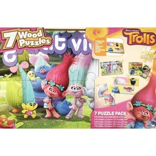 Trolls 7 Pack Wood Puzzle Box