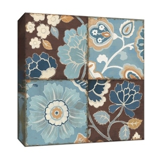 """PTM Images 9-153312  PTM Canvas Collection 12"""" x 12"""" - """"Blue Patchwork Motif II"""" Giclee Flowers Art Print on Canvas"""