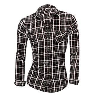 Men Single Breasted Long Sleeves Point Collar Check Prints Shirts - Black