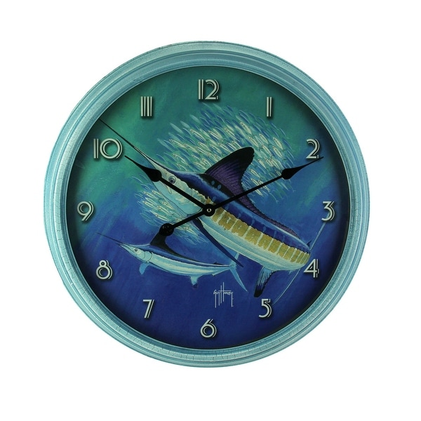 Guy Harvey Blue Sailfish Beveled Frame Round Wall Clock 24 inch - 24.5 X 24.5 X 2.5 inches