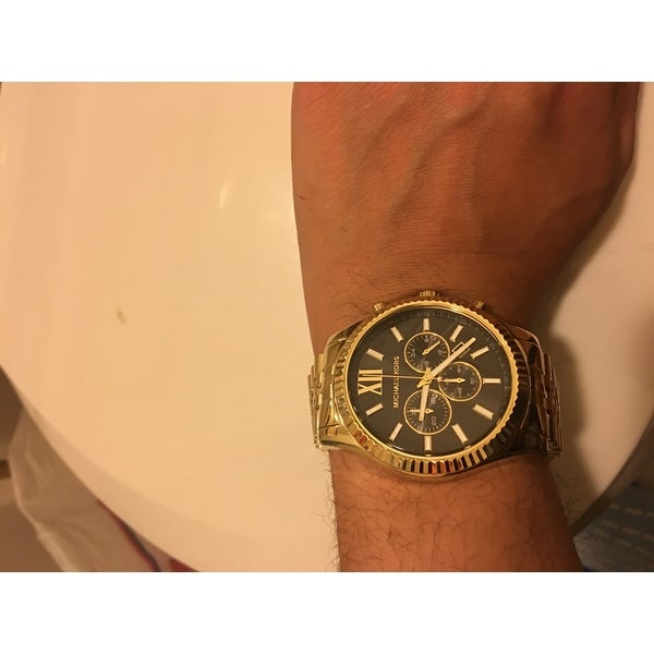 5c5ef4bd49d1 Shop Michael Kors Men s MK8286 Lexington Chronograph Black Dial GoldTone  Watch - Free Shipping Today - Overstock - 8561377