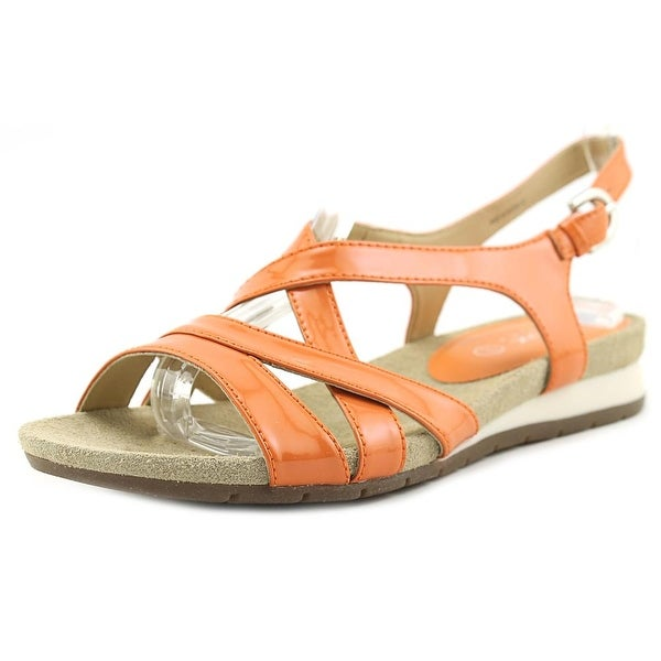 Geox D FORMOSA B Women Open-Toe Patent Leather Orange Slingback Sandal