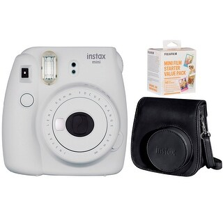 Fujifilm Instax Mini 9 (Smokey White) w/ Film Starter Pack & Carry Case (40 Sheets)