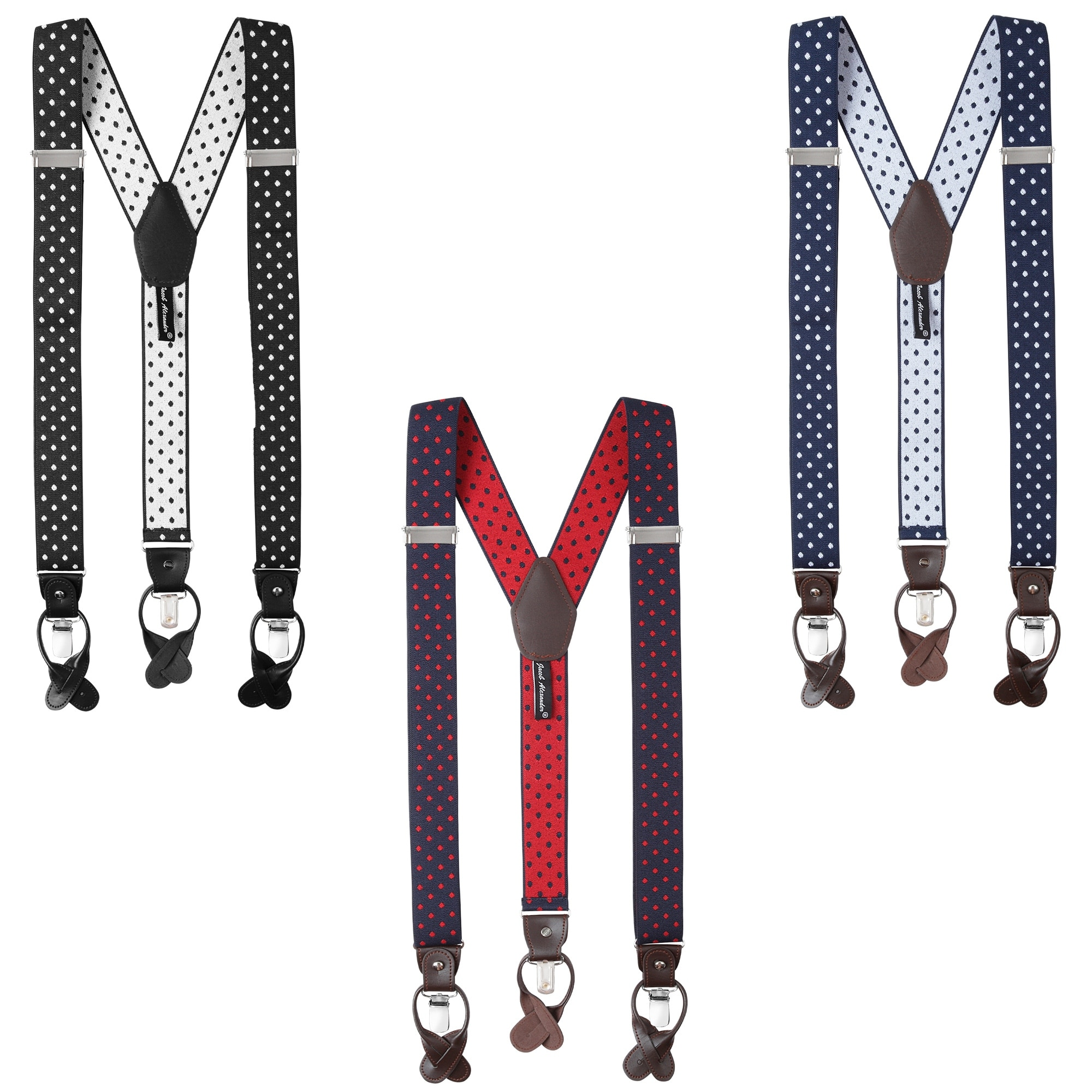 Navy White Jacob Alexander Mens Small Dots Y-Back Suspenders Braces Convertible Leather Ends Clips