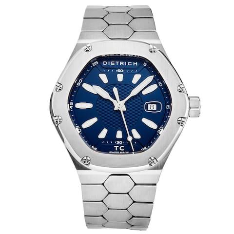 Dietrich Men's TC SS BLUE 'Time Companion' Blue Dial Hexagon Swiss Automatic Watch