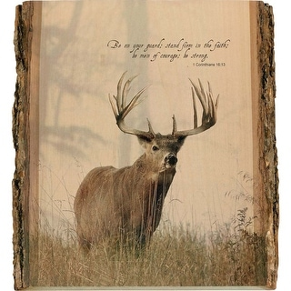 Legendary Whitetails Natural Wood Bible Verse Buck Wall Art - Brown