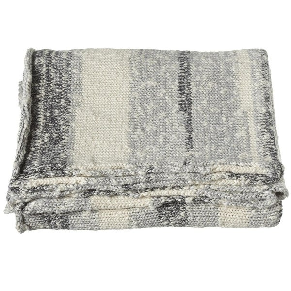 "Off White and Grey Stripe Marled Knit Rectangular Throw Blanket 60"" X 50"""
