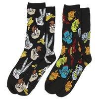 Space Jam Looney Tunes and Nerdlucks Heads Men's 2 Pack Crew Socks