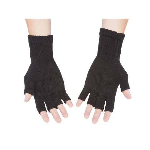 Gravity Threads Unisex Warm Half Finger Stretchy Knit Fingerless Gloves
