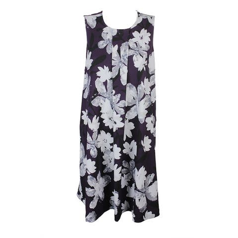 4d34f7b0ed2 Alfani Plus Size Purple Grey Floral-Print A-Line Dress 16W