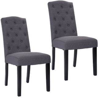 grey dining room chairs. costway set of 2 fabric wood accent dining chair tufted modern living room furniture grey chairs o