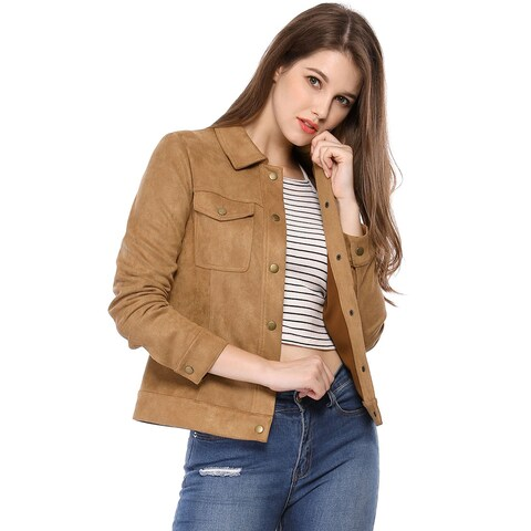 Women's Turn Down Collar Snap Closure Faux Suede Trucker Jacket - Brown