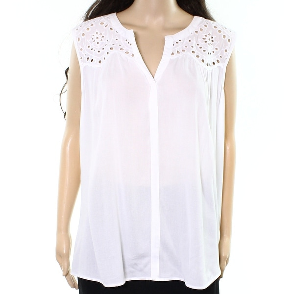 f8ea8289b9c6ba DR2 by Daniel Rainn NEW White Womens Size XL Eyelet Split-Neck Knit Top
