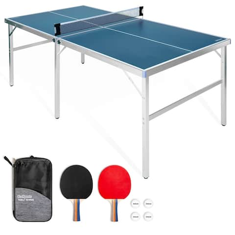 GoSports 6x3 Mid-size Table Tennis Game Set - Indoor / Outdoor Table with Net, 2 Table Tennis Paddles and 4 Balls