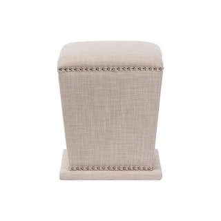 Baxton Studio Beverly Modern and Contemporary Beige Fabric Upholstered Nail head Ottoman Stool