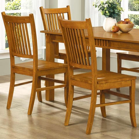 Wood Mission Country Style Dining Chairs (Set of 2)