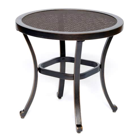 Tempered Glass Patio Bistro Table Top Garden Home Furniture Side Table