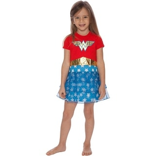 DC Comics Girls Wonder Woman Gold Foil Logo 3 Tiered Costume Pajama Nightgown