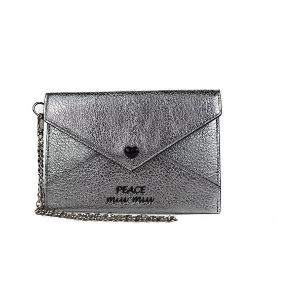 Miu Miu Silver Metallic Madras Leather Envelope With Flap