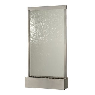 10' Waterfall Grande Floor Fountain, Stainless Steel Frame w/ Clear Glass