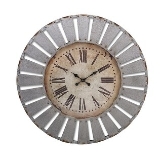 "41"" Rustic Sunburst Distressed Gray Cutwork Patterned Round Wall Clock with Antique Style Face"