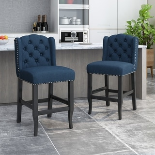 Link to Foxcroft Wingback Counter Stool (Set of 2) by Christopher Knight Home Similar Items in Dining Room & Bar Furniture