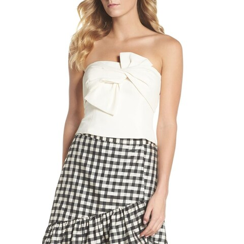 Eliza J White Women's Size 14 Bow Front Strapless Crop Top