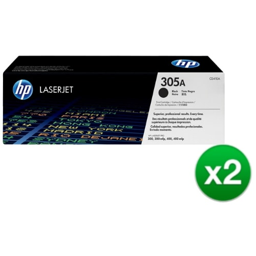 HP 305A Black Original LaserJet Toner Cartridge (CE410A)(2-Pack)