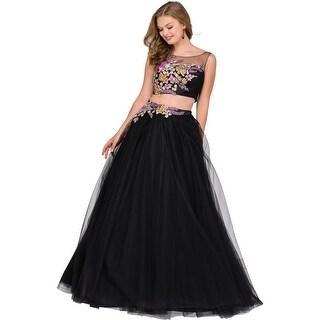 Jovani 2PC Rhinestone Crop Top Dress