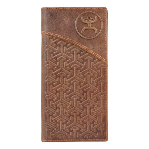 HOOey Western Wallet Mens Rodeo Signature Checkbook Brown - 3 1/2 x 3/4 x 7