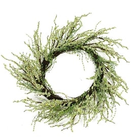 """12"""" Green and Brown Decorative Berry Artificial Spring Twig Wreath - Unlit"""