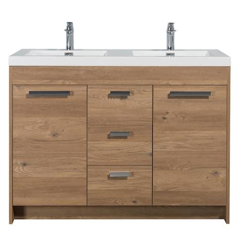 "Eviva Lugano 48"" Natural Oak Modern Double Sink Bathroom Vanity w/ White Integrated Top"